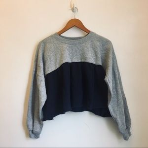 VANILLA STAR Navy Crop Top Ruffle Sweatshirt